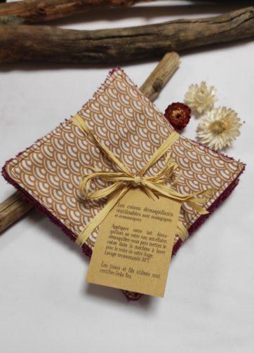 Cotons Démaquillants motif Japonais éponge bordeaux (4)