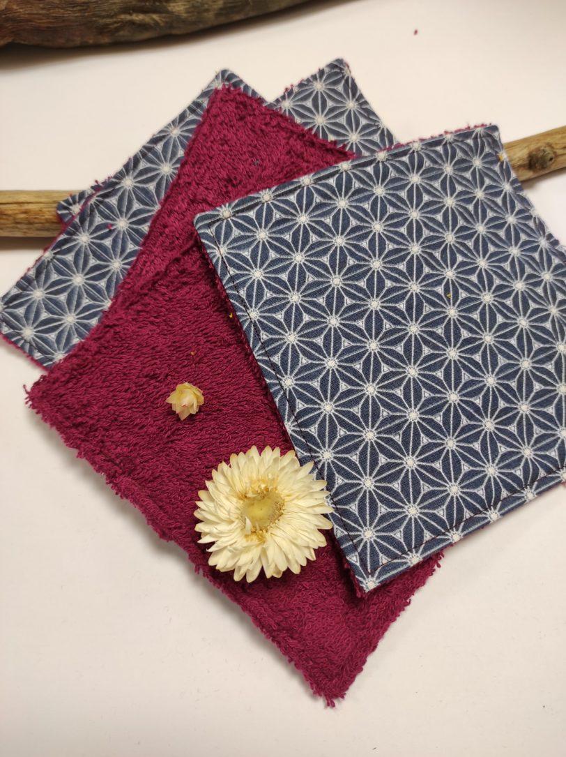 Grand Coton étoile Japonais éponge bordeaux (3)