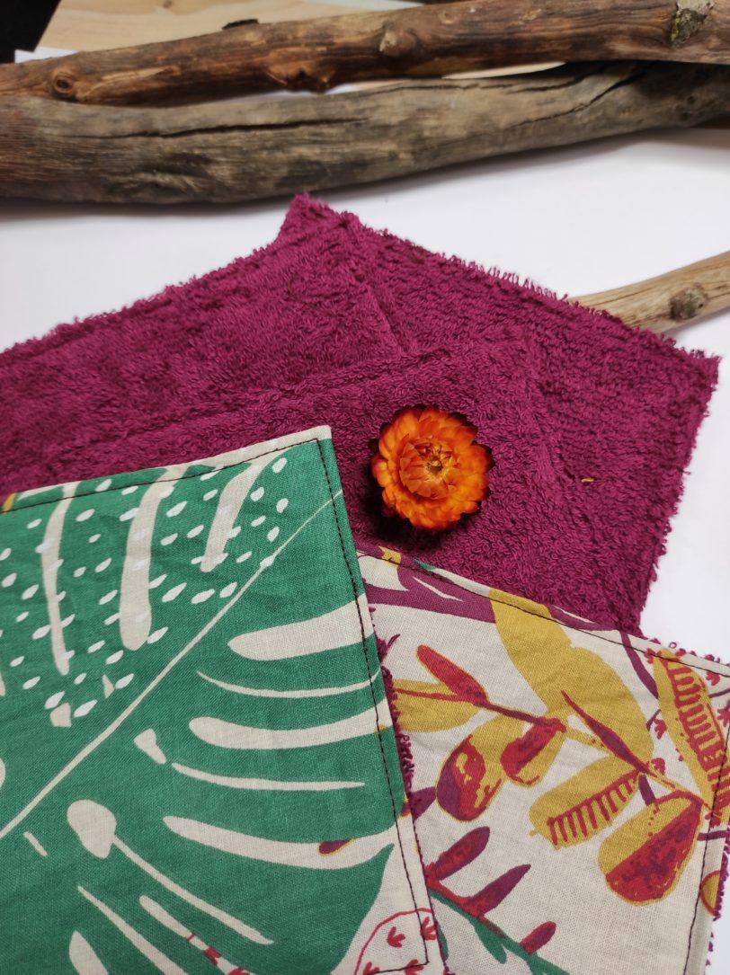 Grand Coton jungle rose éponge bordeaux (1)