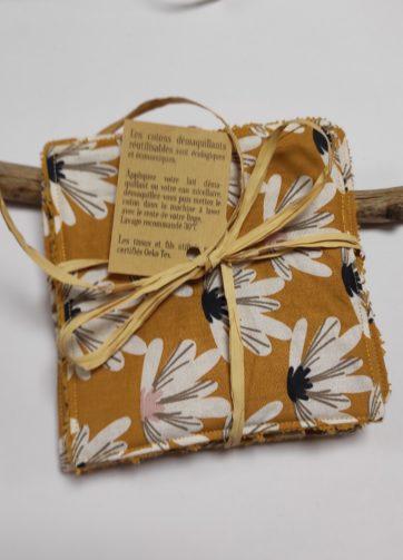 Grand coton fleurs jaunes éponge bordeaux (1)