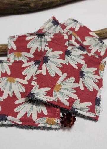 Petit coton fleur rose éponge grise (1)