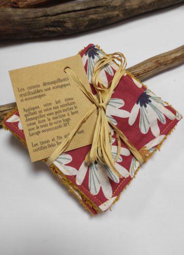 Petit coton fleur rose éponge jaune (1)