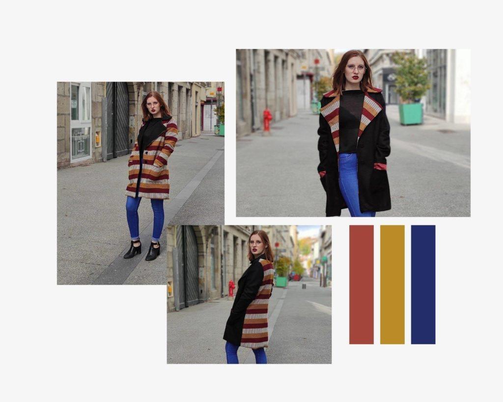 Moodboard de présentation du manteau Neiva