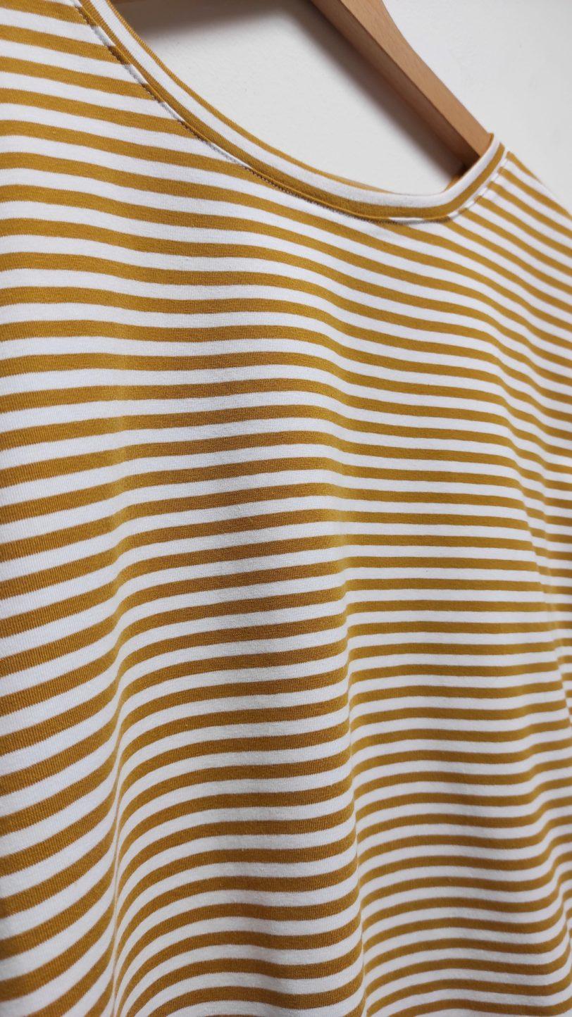 Crop Top Krok Jerey rayure Jaune Moutarde blanche Julie Bonnard créatrice textile saint etienne (4)