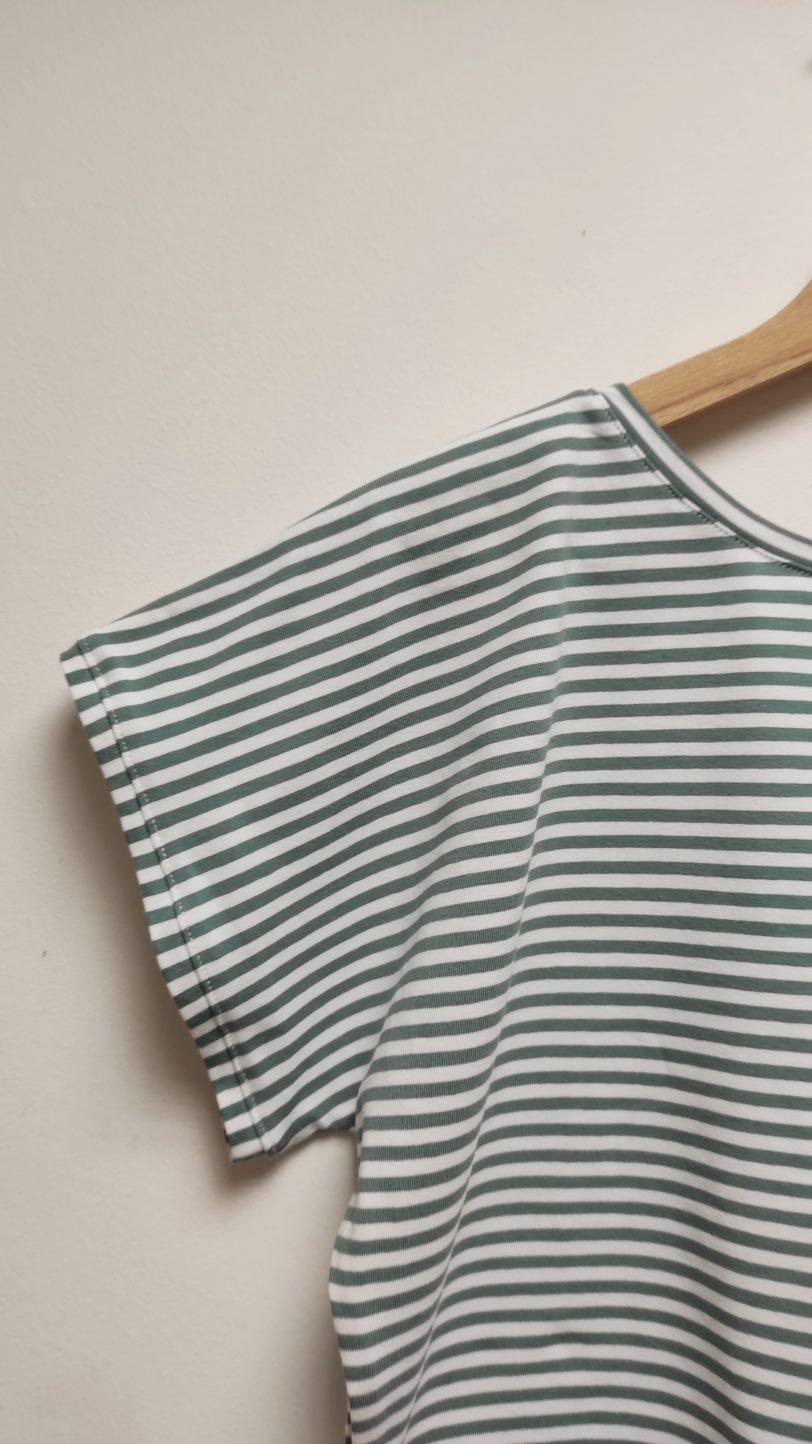 Crop Top Krok Jerey rayure Menthe blanche Julie Bonnard créatrice textile saint etienne (5)