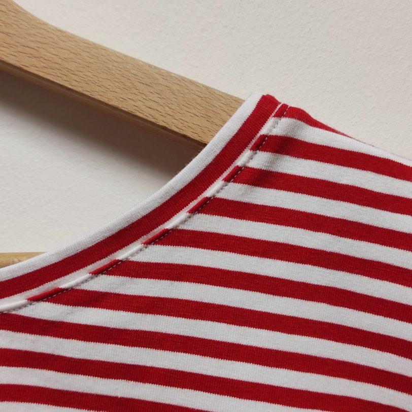 Crop Top Krok Jerey rayure Rouge blanche Julie Bonnard créatrice textile saint etienne (2)