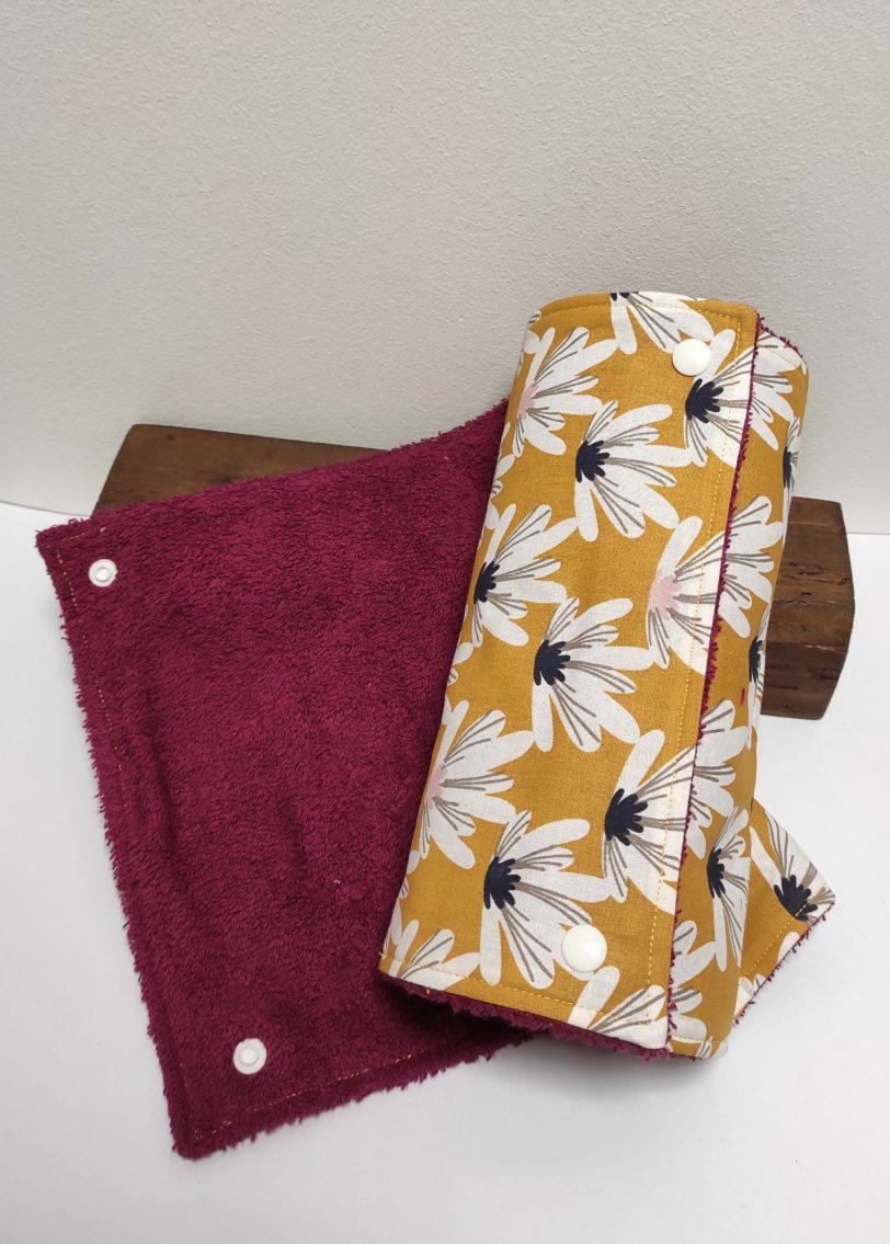 Essuie Tout Fleur jaune 8 feuilles Julie Bonnard créatrice textile