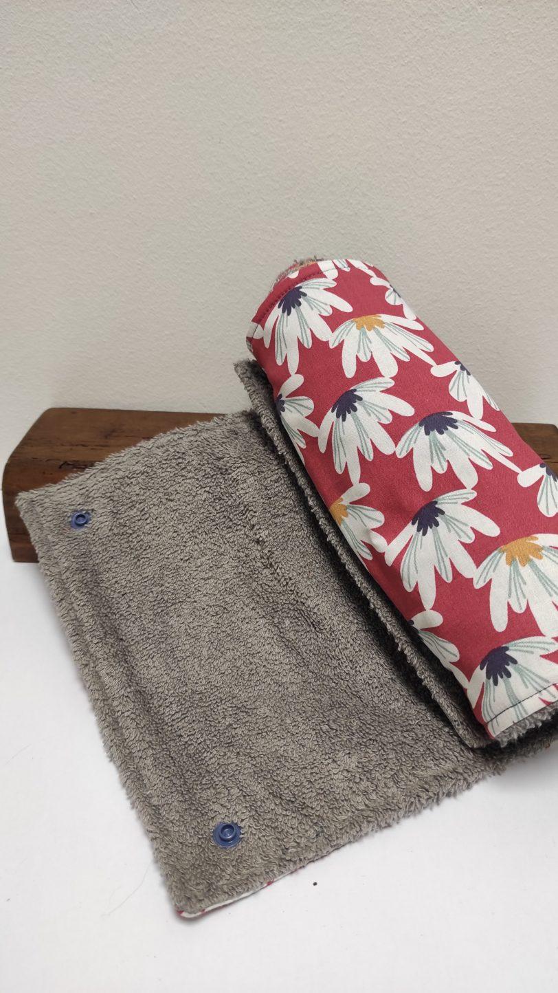 Essuie Tout fleurs roses 5 ou 9 feuilles Julie Bonnard créatrice textile