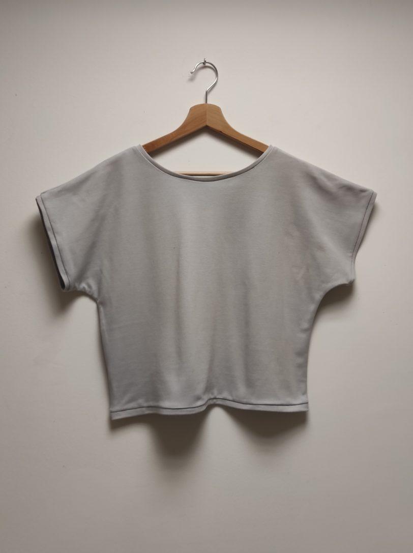 Tshirt Crop Top Krok Court Gris Clair Julie Bonnard créatrice vêtement Saint-Etienne (2)
